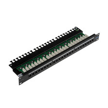 LEVITON GIGAPLUS 24 PORT UNSCREENED PATCH PANEL 1U 110 IDC UNIVERSAL WIRING WITH CABLE MANAGEMENT BLACK