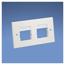 PANDUIT NETKEY 86MM X 146MM, DOUBLE GANG FACE PLATE FRAME WITH LABELS. ACCEPTS TWO 1-2 SIZE MODULE INSERTS