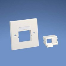 PANDUIT 86 X 86MM SINGLE GANG FACE PLATE FRAME WITH 1 X  HALF SLOPED SHUTTERED MODULE INSERT IN WHITE